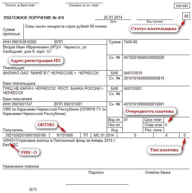 Образец платежного поручения для ИП