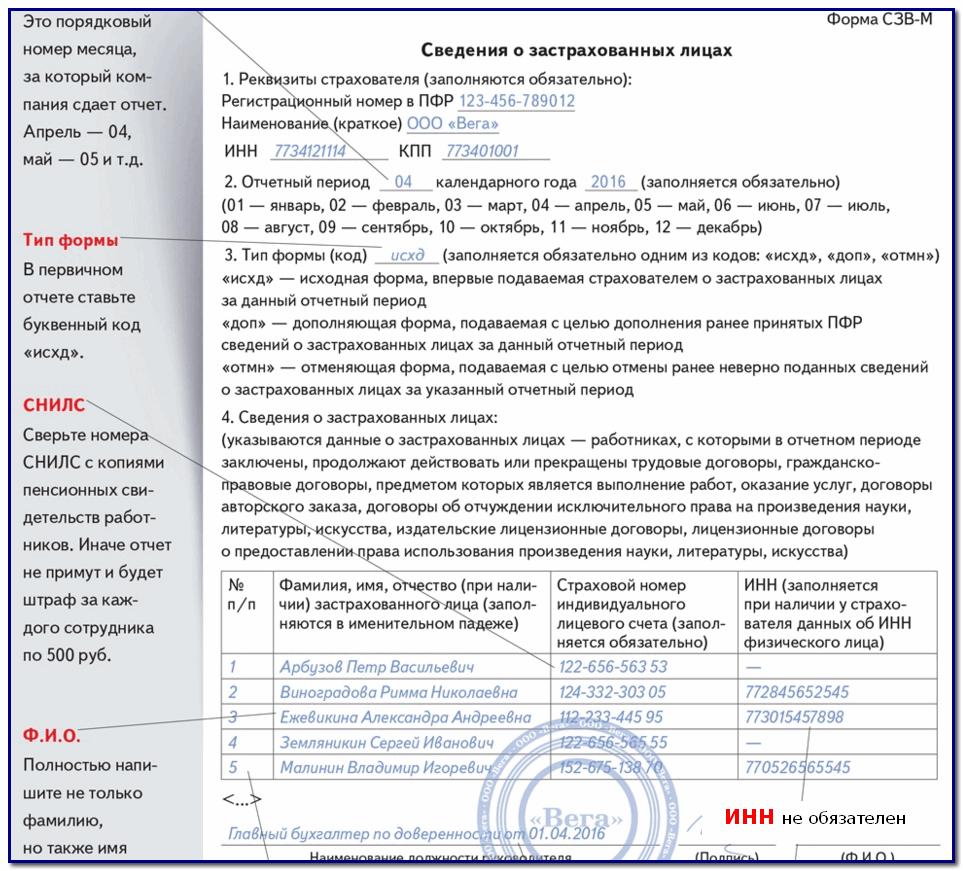ежемесячный отчет в пфр с 2016 года форма сзв-м образец заполнения - фото 11